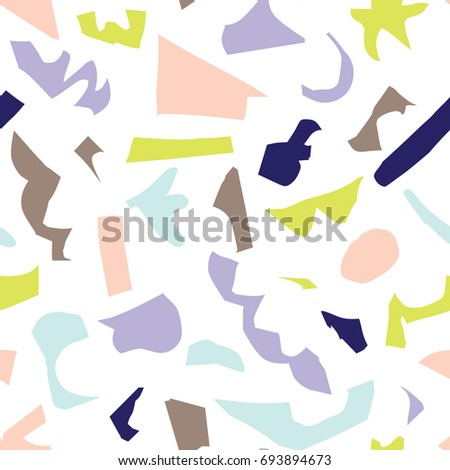 Abstract and modern seamless pattern with paper cut shapes, artistic colorful repeating surface pattern design for print and web. - Raster version