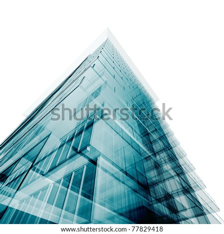 Abstract angle building. Isolated on white - stock photo