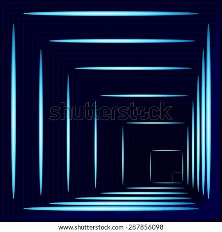 abstract angular dark blue pattern with dark cyan texture with turquoise lighting with indigo line on dark background. raster illustration - stock photo
