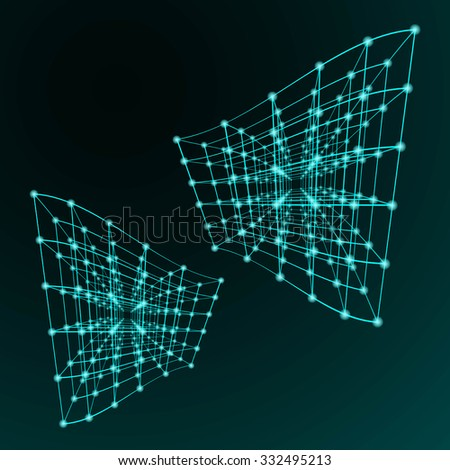 abstract angular dark cyan pattern with turquoise web structure texture with cube with slate line isolated on azure background. raster illustration