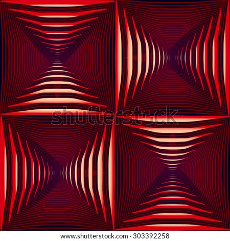 abstract angular dark red pattern with raspberry lighting with magenta line on black background. raster illustration