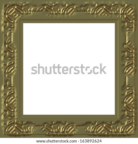 Abstract antique decorative golden frame with white background.