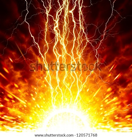 Abstract apocalyptic background - bright lightnings, exploding star, red sky, end of world - stock photo