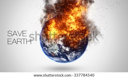 Abstract apocalyptic background - burning and exploding planet Earth. Elements of this image furnished by NASA - stock photo
