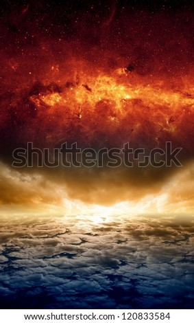 Abstract apocalyptic background - dramatic sunset, red galaxy, end of world. Elements of this image furnished by NASA-JPL-Caltech - stock photo