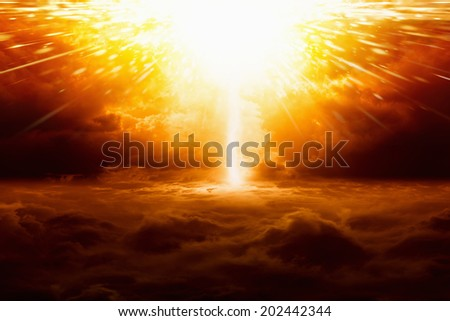 Abstract apocalyptic background - huge powerful red explosion, scientific experiment - stock photo