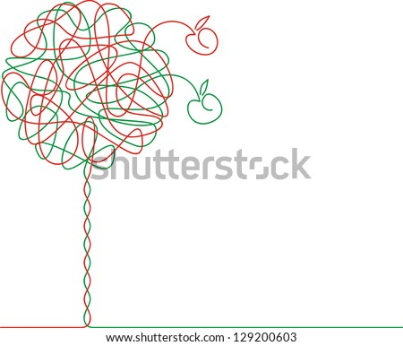 Abstract apple-tree. Raster version, vector file available in portfolio.
