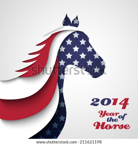 Abstract applique paper horse. Illustration for your happy holiday design. Christmas and New Year card. Colors of American flag. 2014 - stock photo