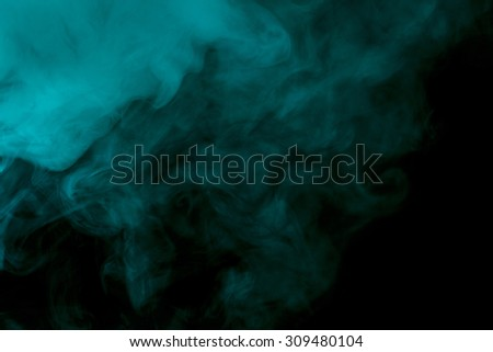 Abstract aquamarine hookah smoke on a black background. Photographed using a gel filter. Texture. Design element. - stock photo