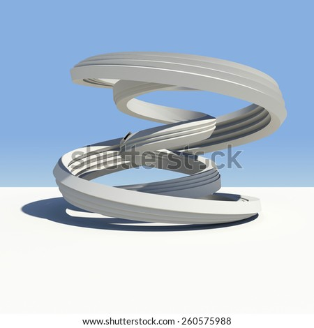 Abstract arch with shadow on white surface. Sky as backdrop - stock photo