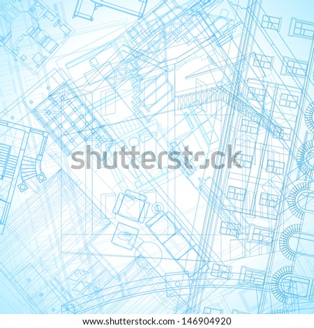 Abstract architectural background. Raster version. Vector version is also available. - stock photo