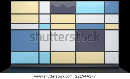 abstract architectural background with glossy plastic panels in stylish color scheme