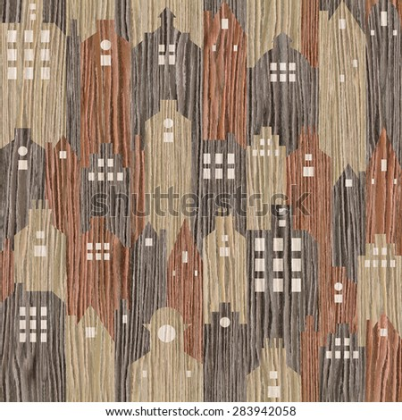 Abstract architectural building - seamless background - Blasted Oak Groove wood texture - stock photo