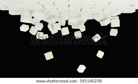 abstract architectural composition build of many glossy cubes falling down on black background - stock photo