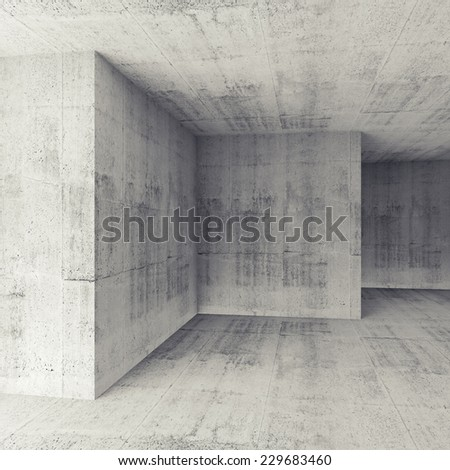 Abstract architectural 3d background, white concrete empty room interior - stock photo