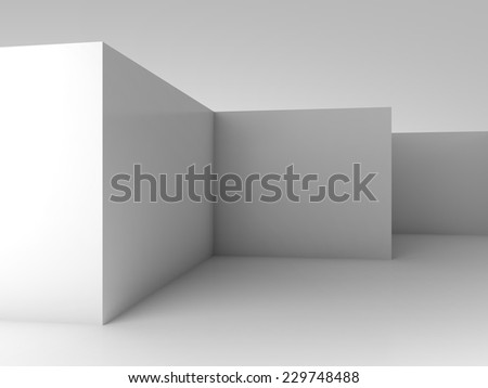 Abstract architectural 3d background, white empty room interior with corners - stock photo