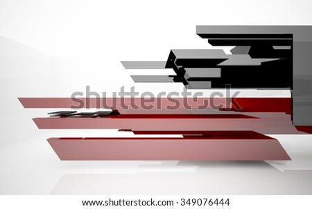 abstract architectural interior with black and red geometric sculpture. 3D illustration. 3D rendering