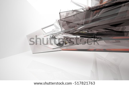 abstract architectural interior with brown, orange, red geometric glass sculpture. 3D illustration and rendering