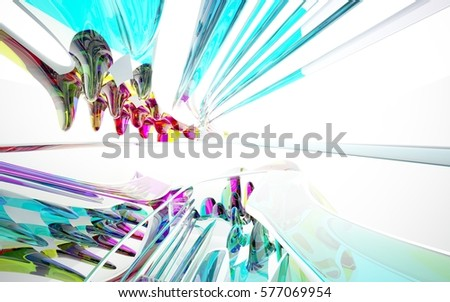 abstract architectural interior with colored smooth glass sculpture with white lines. 3D illustration and rendering