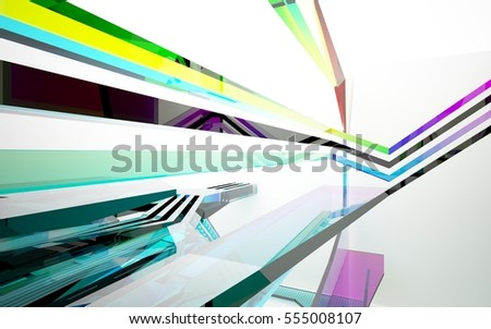 abstract architectural interior with gradient geometric glass sculpture with black lines. 3D illustration and rendering