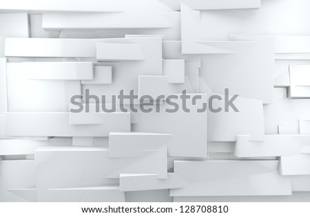 abstract architectural,White abstract wall with shiny cubes - stock photo