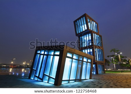 AbstracT Architecture at night - stock photo