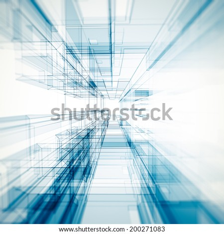 Abstract architecture background. Architecture design and 3d model