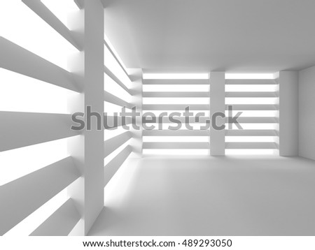 Abstract Architecture Background. Big Window Room. 3d Render Illustration