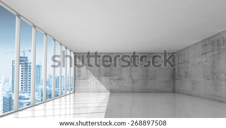 Abstract architecture background, empty interior with concrete walls and modern city buildings under construction in windows, 3d illustration with photo background - stock photo