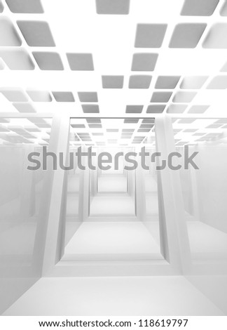 Abstract architecture background. Empty white modern corridor interior