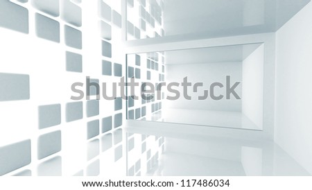 Abstract architecture background. Empty white modern room interior - stock photo