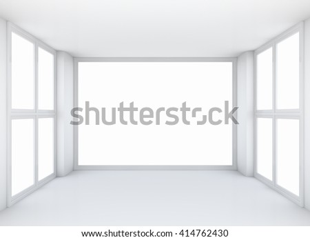 Abstract architecture background, empty white open space interior with windows and walls, 3D rendering - stock photo