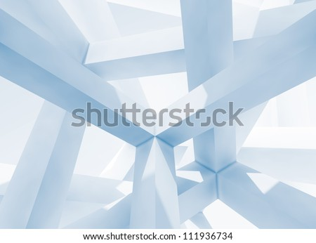 Abstract architecture background. Internal space of a modern chaotic braced construction - stock photo