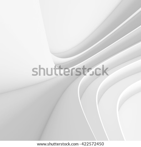 Abstract Architecture Background. White Circular Building. 3d Rendering - stock photo