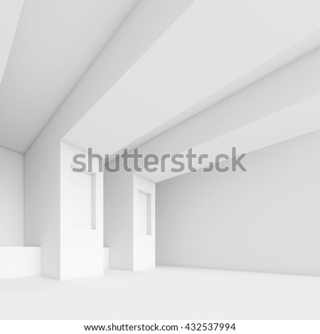 Abstract Architecture Background. White Minimal Interior Design, 3d Illustration of Modern Building Construction
