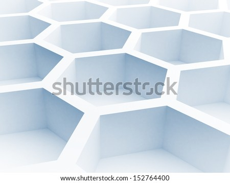 Abstract architecture background with blue honeycomb structure. 3d render illustration - stock photo