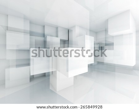 Abstract architecture background with chaotic cubes structure. 3d render illustration - stock photo