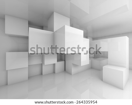 Abstract architecture background with white chaotic cubes structure on the wall. 3d render - stock photo