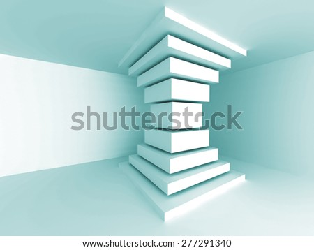 Abstract Architecture Column Design Background. Empty Room Interior. 3d Render Illustration - stock photo