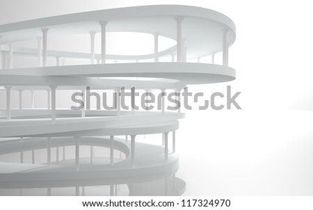 Abstract Architecture.Conceptual modern building with classical columns - stock photo