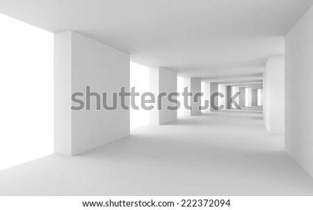 Abstract architecture 3d background, empty bent white corridor