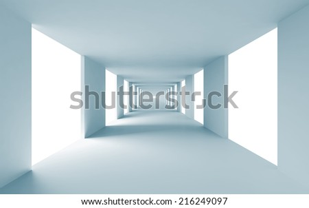 Abstract architecture 3d background, empty blue corridor perspective