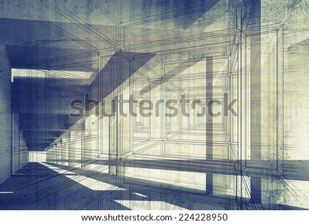 Abstract architecture 3d background with perspective view of blue corridor - stock photo