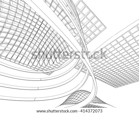 abstract architecture, 3d illustration