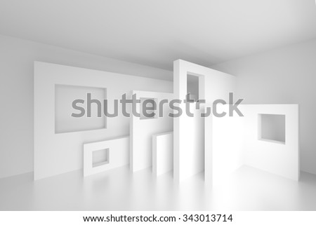 Abstract Architecture Design. 3d White Modern Background - stock photo