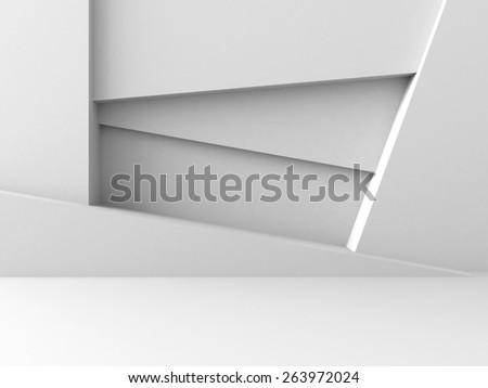 Abstract Architecture Design White Geometric Futuristic Background. 3d Render Illustration - stock photo