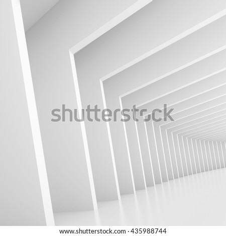 Abstract Architecture Design. White Modern Background. Modern Minimal Building Construction. Column Wallpaper. 3d Rendering - stock photo