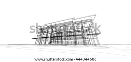 Abstract Architecture Drawing Stock Illustration 444344686
