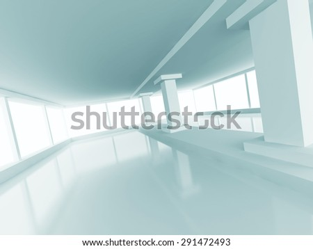 Abstract Architecture Empty Column Light Interior Background. 3d Render Illustration