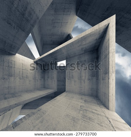 Abstract architecture, empty concrete interior with dark moody sky on a background, 3d illustration - stock photo
